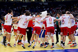 Players of Denmark celebrate after winning the handball match between Denmark and Spain in 1st Semifinal at 10th EHF European Handball Championship Serbia 2012, on January 27, 2012 in Beogradska Arena, Belgrade, Serbia. Denmark defeated Spain 25-24. (Photo By Vid Ponikvar / Sportida.com)