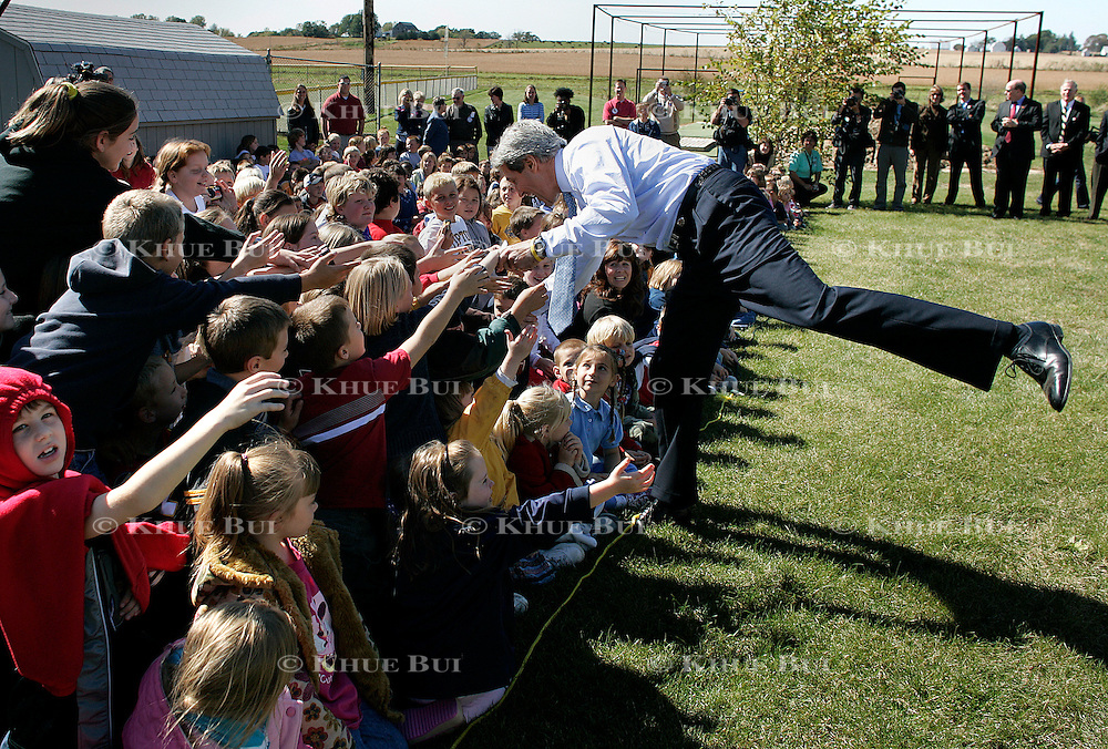 Sen. John Kerry greets school children at Tipton Middle School Tuesday, October 5, 2004, in Tipton, IA...Photo by Khue Bui
