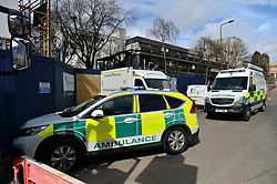 Specialist rescue teams from the Scottish Ambulance Service were called in to rescue and treat a worker who it was believed sustained a fall while working on the new University of Edinburgh building next to Bristo Square in Edinburgh.<br /> <br /> © Dave Johnston/ EEm