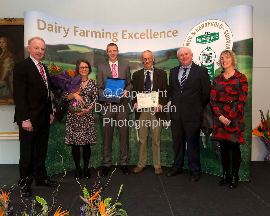 Repro free..11/10/2012.CLONAKILTY DAIRY FARMER COMMENDED IN NATIONAL QUALITY MILK AWARDS. .Dairy farmer Conor Murphy from Clonlea, Clonakilty, Co. Cork, a supplier to Lisavaird Co-op, was presented with a Judge's Award for Milk Protein Excellence in a Spring.Herd at the 2012 NDC & Kerrygold Quality Milk Awards.  . .The national awards programme, described as ?The Sam Maguire of Farming,? highlights and rewards dairy farming excellence. David & Kathleen.Cassidy from Coppenagh, Lisnagar, Cootehill, Co. Cavan, suppliers of milk to Glanbia, are the overall winners of the 2012 NDC & Kerrygold Quality Milk.Awards. . .Nine times All-Ireland champion and hurling All-Star Henry Shefflin presented the NDC & Kerrygold Quality Milk Awards to nine dairy farmers short-listed as national finalists, including Conor Murphy, in Dublin's RDS today (11th October 2012).   Details about the finalists are at www.qualitymilkawards.ie. .Pictured at the NDC & Kerrygold Quality Milk Awards ceremony were (L-R): Vincent Buckley, Chairman, Irish Dairy Board, Mary Murphy, Henry Shefflin, Conor Murphy, Jackie Cahill, Chairman, National Dairy Council and Eleanor Hayes, Lisavaird....Picture Dylan Vaughan.