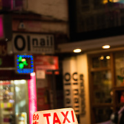 Taxi waiting for fare in Causeway Bay, Hong Kong
