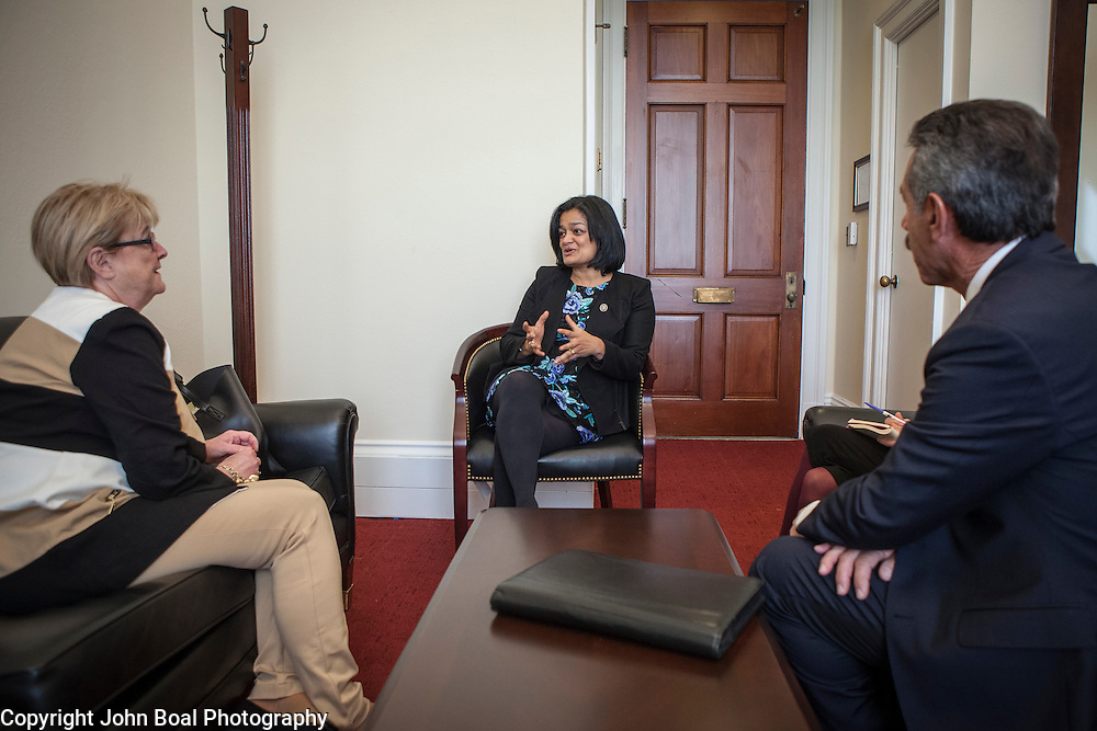 Representative Pramila Jayapal (D-WA, 7) meets with Gloria Stewart and James Pishue, President and CEO of the Washington Bankers Association, on Tuesday, January 31, 2017.  John Boal photo/for The Stranger
