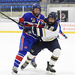 TORONTO, ON - Nov 29, 2015 : Ontario Junior Hockey League game action between Toronto Patriots and Toronto Jr. Canadiens, Adam Deluca #19 of the Toronto Jr. Canadiens battles for control with Jake Harris #9 of the Toronto Patriots during the first period.<br /> (Photo by Andy Corneau / OJHL Images)