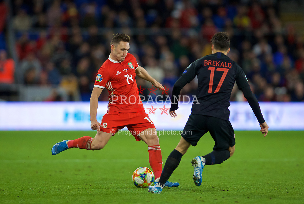 CARDIFF, WALES - Sunday, October 13, 2019: Wales' Connor Roberts during the UEFA Euro 2020 Qualifying Group E match between Wales and Croatia at the Cardiff City Stadium. (Pic by Laura Malkin/Propaganda)