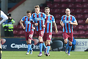 Scunthorpe celebrate Conor Townsend of Scunthorpe United scoring to go 1-0 up  during the Sky Bet League 1 match between Scunthorpe United and Swindon Town at Glanford Park, Scunthorpe, England on 28 March 2016. Photo by Ian Lyall.