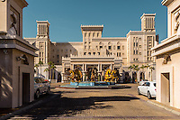 DUBAI, UAE - DECEMBER 18, 2015: The main entrance of the luxurious Jumeirah Al Qasr, Madinat Jumeirah Resort.