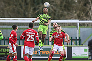 Forest Green Rovers Ebou Adams(14) heads the ball during the EFL Sky Bet League 2 match between Forest Green Rovers and Walsall at the New Lawn, Forest Green, United Kingdom on 8 February 2020.