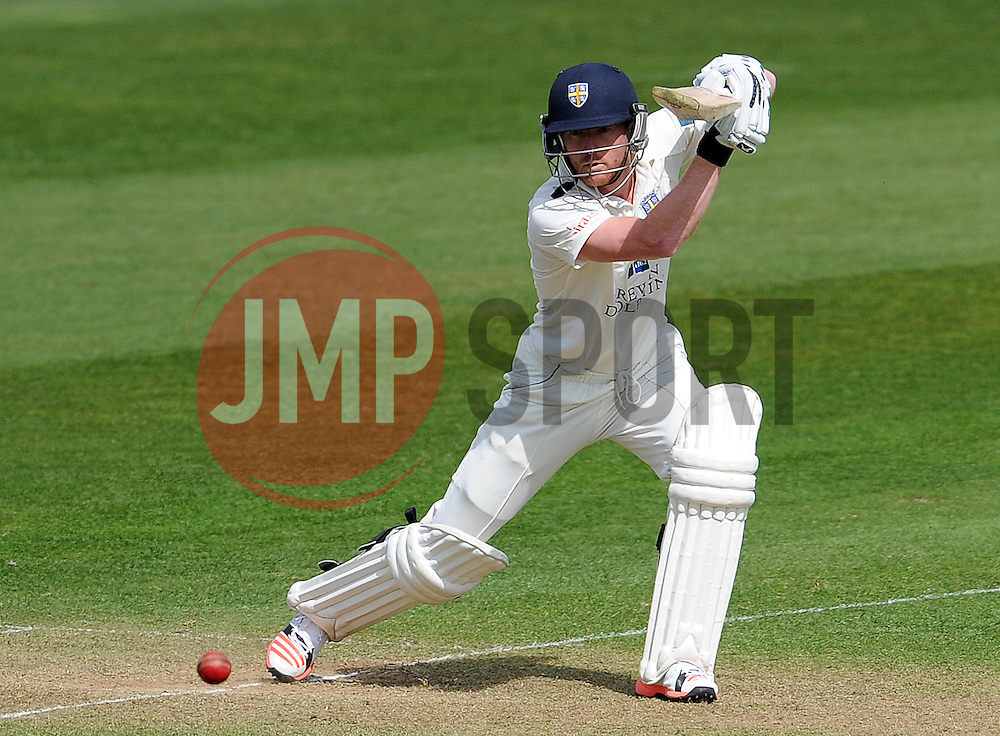 Durham's Paul Collingwood drives the ball off the bowling of Somerset's Abdur Rehman. - Photo mandatory by-line: Harry Trump/JMP - Mobile: 07966 386802 - 13/04/15 - SPORT - CRICKET - LVCC County Championship - Day 2 - Somerset v Durham - The County Ground, Taunton, England.