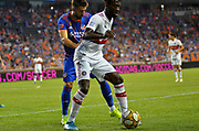 Mathieu Deplagne (17) of FC Cincinnati and C.J. Sapong (9) of the Chicago Fire compete for the ball during a MLS soccer game, Saturday, September 21, 2019, in Cincinnati, OH. Chicago tied Cincinnati 0-0. (Jason Whitman/Image of Sport)