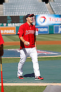 ANAHEIM, CA - JULY 28:  Mike Trout #27 of the Los Angeles Angels of Anaheim has a hearty laugh before the game against the Tampa Bay Rays on Saturday, July 28, 2012 at Angel Stadium in Anaheim, California. The Rays won the game in a 3-0 shutout. (Photo by Paul Spinelli/MLB Photos via Getty Images) *** Local Caption *** Mike Trout