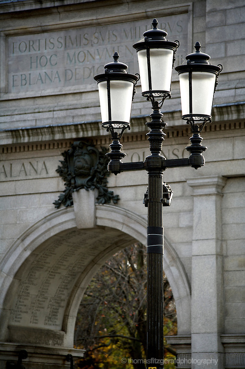 An iconic Dublin City Lamp Post infront of the historic arc at the enterance to Stephen's Green, in Dublin City Centre