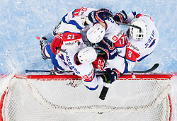 Blaz Gregorc of Slovenia, Andrej Hocevar of Slovenia, Ziga Pavlin of Slovenia and Ziga Jeglic of Slovenia celebrate after the ice-hockey match between Slovenia and Japan at IIHF World Championship DIV. I Group A Slovenia 2012, on April 16, 2012 in Arena Stozice, Ljubljana, Slovenia. Slovenia defeated Japan 4-2. (Photo by Vid Ponikvar / Sportida.com)