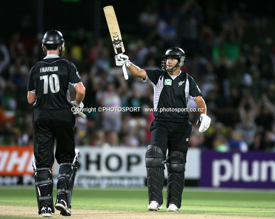 Ross Taylor celebrates 50 runs.  New Zealand Black Caps v Australia. 1st ODI, Chappell-Hadlee Trophy Series. McLean Park, Napier. Wednesday 03 March 2010  Photo: John Cowpland/PHOTOSPORT