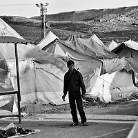 A Syrian refugee inside a refugee camp in Reyhanli, Turkey, Saturday, March 17, 2012. The number of Syrian refugees in Turkey is now about 17,000. March 2012.