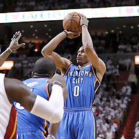 19 June 2012: Oklahoma City Thunder point guard Russell Westbrook (0) takes a jumpshot during the Miami Heat 104-98 victory over the Oklahoma City Thunder, in Game 4 of the 2012 NBA Finals, at the AmericanAirlinesArena, Miami, Florida, USA.