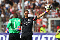 "14.06.2015, Gazi Stadion Rasenplatz, Stuttgart, GER, Das Spiel des Jahres, Sami Allstars vs Khediras Eleven, Benefizspiel, im Bild Andreas Koepke ( Team Weiss ) rechts Kevin Trapp ( Team Rot ) // during ""the Game of the Year"" charity match between Sami-Allstars and. Khediras Eleven at the Gazi Stadion Rasenplatz in Stuttgart, Germany on 2015/06/14. EXPA Pictures © 2015, PhotoCredit: EXPA/ Eibner-Pressefoto/ Langer<br /> <br /> *****ATTENTION - OUT of GER*****"