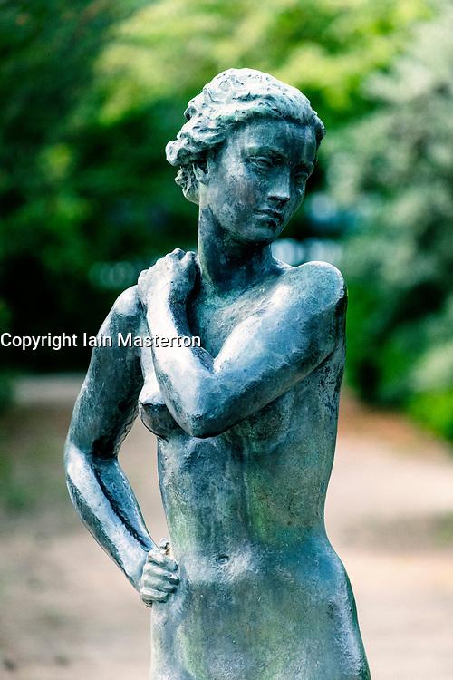 Female statue in Berlin Botanical Garden in Dahlem, Berlin, Germany