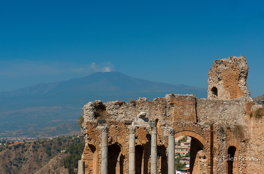A view of the Greek Theatre and Mt. Etna inTaormina, Sicily, Italy