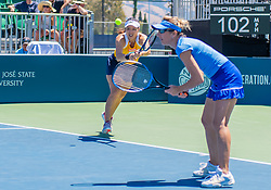 August 5, 2018 - San Jose, CA, U.S. - SAN JOSE, CA - AUGUST 05: Latisha Chan (TPE) receives a serve during the WTA Doubles Championship match at the Mubadala Silicon Valley Classic on the San Jose State University Stadium Court in San Jose, CA  on Sunday, August 5, 2018. (Photo by Douglas Stringer/Icon Sportswire) (Credit Image: © Douglas Stringer/Icon SMI via ZUMA Press)