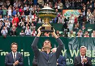 Roger Federer (SUI)  mit Pokal, <br /> Endspiel, Final, Siegerehrung,Pr&auml;sentation,<br /> <br /> Tennis - Gerry Weber Open - ATP 500 -  Gerry Weber Stadion - Halle / Westf. - Nordrhein Westfalen - Germany  - 21 June 2015. <br /> &copy; Juergen Hasenkopf
