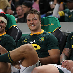 DURBAN, SOUTH AFRICA - AUGUST 18: Francois Louw with Andre Esterhuizen of South Africa during the Rugby Championship match between South Africa and Argentina at Jonsson Kings Park on August 18, 2018 in Durban, South Africa. (Photo by Steve Haag/Gallo Images)