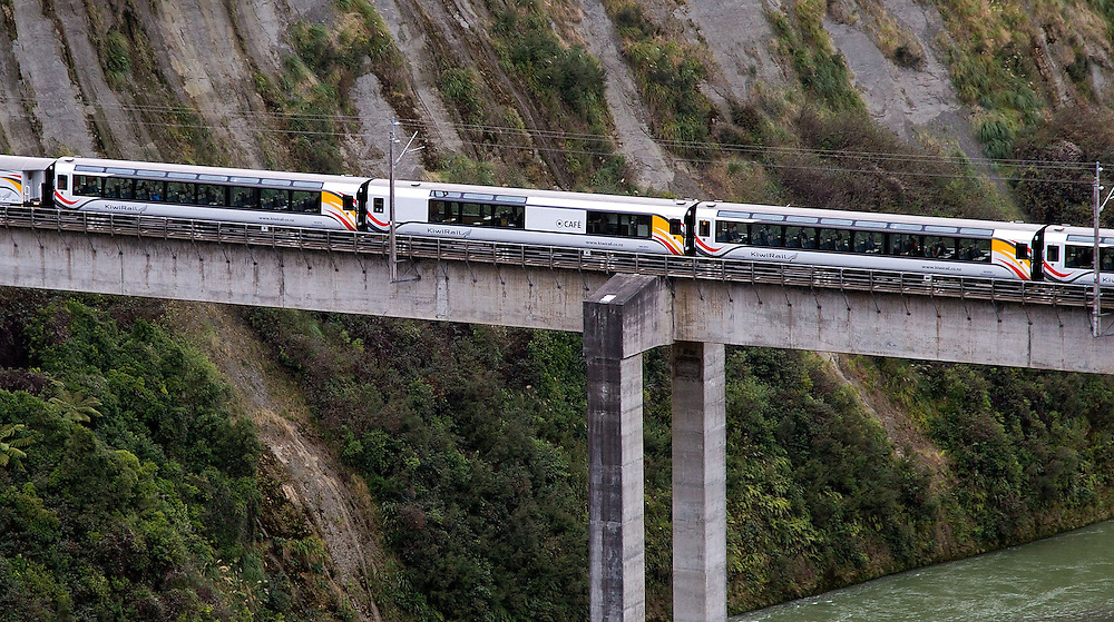 Kiwirail's new Northern Explorer Train travels over the South Rangitikei viaduct on its first run to Wellington in the Rangitikei, New Zealand, Monday, June 25, 2012. Credit:SNPA / Marty Melville