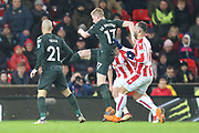 Kevin de Bruyne shoots on goal during the Premier League match between Stoke City and Manchester City at the Bet365 Stadium, Stoke-on-Trent, England on 12 March 2018. Picture by Graham Holt.