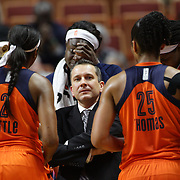 UNCASVILLE, CONNECTICUT- MAY 26:  Head coach Curt Miller of the Connecticut Sun talks to his players during a time out during the Los Angeles Sparks Vs Connecticut Sun, WNBA regular season game at Mohegan Sun Arena on May 26, 2016 in Uncasville, Connecticut. (Photo by Tim Clayton/Corbis via Getty Images)