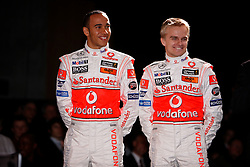 STUTTGART, GERMANY - Monday, January 7, 2008: Drivers Lewis Hamilton and Heikki Kovalainen at the launch of the Vodafone McLaren Mercedes MP4-23 Formula One car for the 2008 season at the Mecedez-Benz museum in Stuttgart. (Photo by Michael Kunkel/Hochzwei/Propaganda)