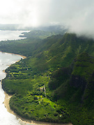 Aerial view of Haena on the northern coast of Kauai, Hawaii on a cloudy day.