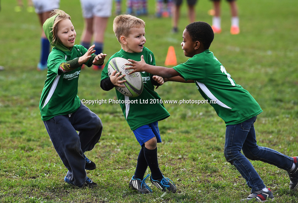 All Blacks training and coaching session with local children and rugby players at Smith Park in Chicago, USA. AIG Sponsorship activation. Saturday 29 October 2016. © Copyright photo : Andrew Cornaga / www.photosport.nz