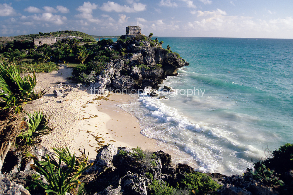 View of Mayan ruins of Tulum, and beach, Mexico.