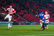 AFC Wimbledon forward Joe Pigott (39) heads on goal during the The FA Cup match between Doncaster Rovers and AFC Wimbledon at the Keepmoat Stadium, Doncaster, England on 19 November 2019.