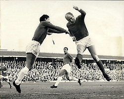 Jan. 03, 1970 - F.A. Cup - Third Round. Ipswich V. Manchester United. Photo Shows Bobby Charlton (Manchester United), beats the Ipswich goalkeeper, David Best - and narrowly misses scoring with a brilliant header - during today's match at Ipswich. (Credit Image: © Keystone Press Agency/Keystone USA via ZUMAPRESS.com)