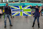 Seattle Seahawks fans fly their union jack flag during the International Series match between Oakland Raiders and Seattle Seahawks at Wembley Stadium, London, England on 14 October 2018.