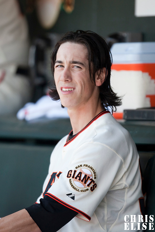 18 April 2009: San Francisco Giants' starter Tim Lincecum is seen in the dugout during the San Francisco Giants' 2-0 loss to the Arizona Diamondbacks at AT&T Park in San Francisco, CA.