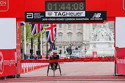 © Licensed to London News Pictures. 28/04/2019. London, UK. Manuela Schar wins the women's wheelchair race at the 2019 Virgin Money London Marathon. Photo credit: Dinendra Haria/LNP