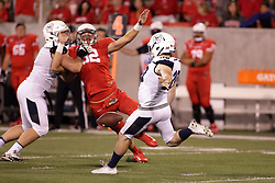 02 September 2017:   van Giebel punts during the Butler Bulldogs at  Illinois State Redbirds Football game at Hancock Stadium in Normal IL (Photo by Alan Look)