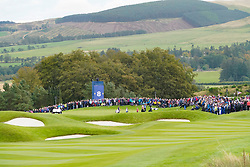 Auchterarder, Scotland, UK. 14 September 2019. Saturday morning Foresomes matches  at 2019 Solheim Cup on Centenary Course at Gleneagles. Pictured; View of 8th green with March 1 playing. Iain Masterton/Alamy Live News