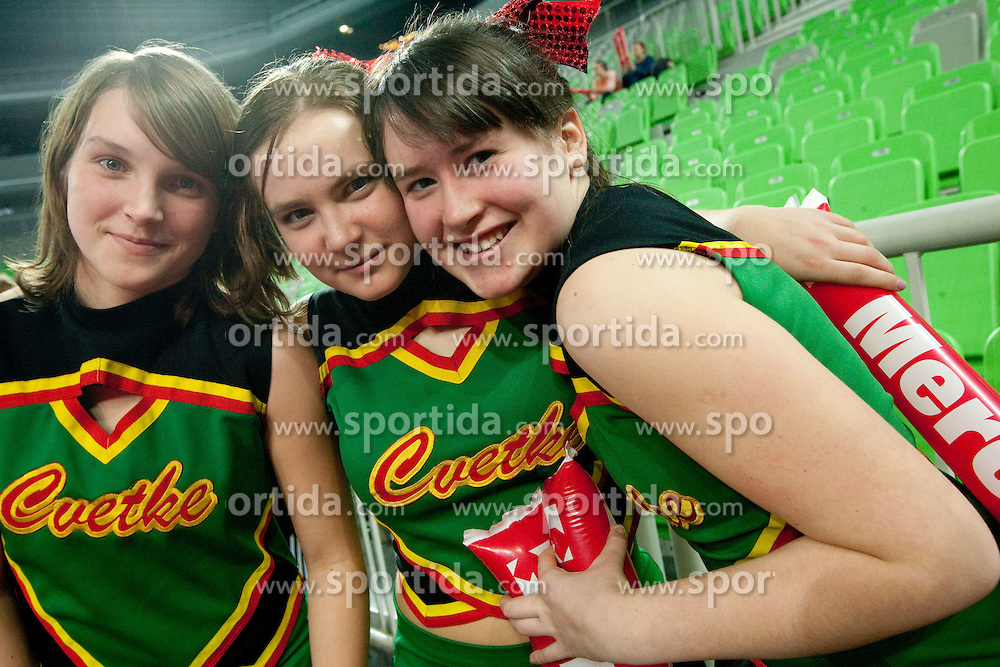 Cheerleaders during handball match between RK Krim Mercator (SLO) and Itxako Reyno de Navarra (ESP) in Main Round of Women's Champions league, on February  4, 2011 at SRC Stozice, Ljubljana, Slovenia. Krim defeated Itxako 30-26. (Photo By Vid Ponikvar / Sportida.com)