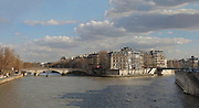 The Ile Saint-Louis and the river Seine, with the Pont Louis-Philippe on the left, and the Pont Saint-Louis on the right, seen from the Ile de la Cite, in the 4th arrondissement of Paris, France. Picture by Manuel Cohen