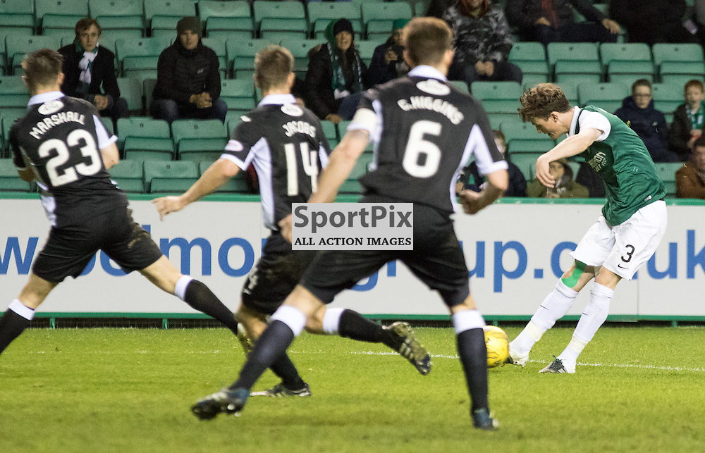 Hibernian's Liam Henderson shoots through a crowd of players in the Hibernian vs Queen of the South Scottish Championship 19th December 2015......(c) MARK INGRAM | SportPix.org.uk