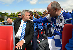 Bristol Rovers chairman speaks with a Bristol Rovers fan - Photo mandatory by-line: Dougie Allward/JMP - Mobile: 07966 386802 - 25/05/2015 - SPORT - Football - Bristol - Bristol Rovers Bus Tour