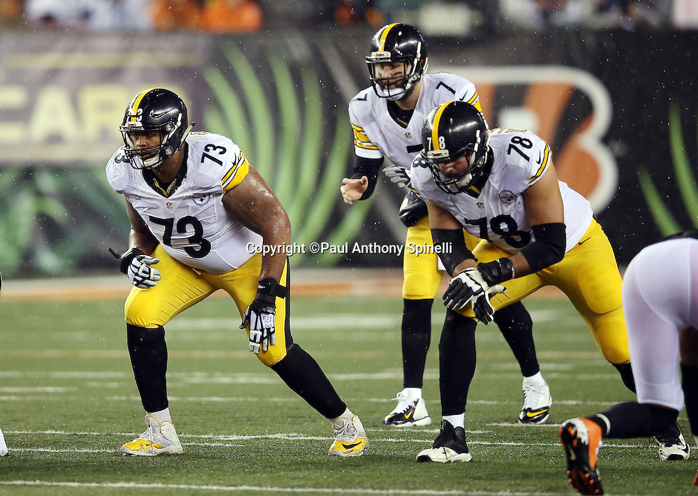 Pittsburgh Steelers guard Ramon Foster (73) and Pittsburgh Steelers tackle Alejandro Villanueva (78) get set for the snap during the NFL AFC Wild Card playoff football game against the Cincinnati Bengals on Saturday, Jan. 9, 2016 in Cincinnati. The Steelers won the game 18-16. (©Paul Anthony Spinelli)