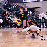 4th year outside hitter Ashlee Sandiford (1) of the Regina Cougars in action during Women's Volleyball home opener on October 20 at Centre for Kinesiology, Health and Sport. Credit: Arthur Ward/Arthur Images