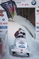 21.02.2016, Olympiaeisbahn Igls, Innsbruck, AUT, FIBT WM, Bob und Skeleton, Herren, Viererbob, 4. Lauf, im Bild Oskars Melbardis, Daumants Dreiskens, Arvis Vilkaste, Janis Strenga (LAT, Goldmedaille), // Gold medalists and Worldcampions Oskars Melbardis Daumants Dreiskens Arvis Vilkaste Janis Strenga of Latvia react after Four-Man Bobsleigh 4th run of FIBT Bobsleigh and Skeleton World Championships at the Olympiaeisbahn Igls in Innsbruck, Austria on 2016/02/21. EXPA Pictures © 2016, PhotoCredit: EXPA/ Johann Groder