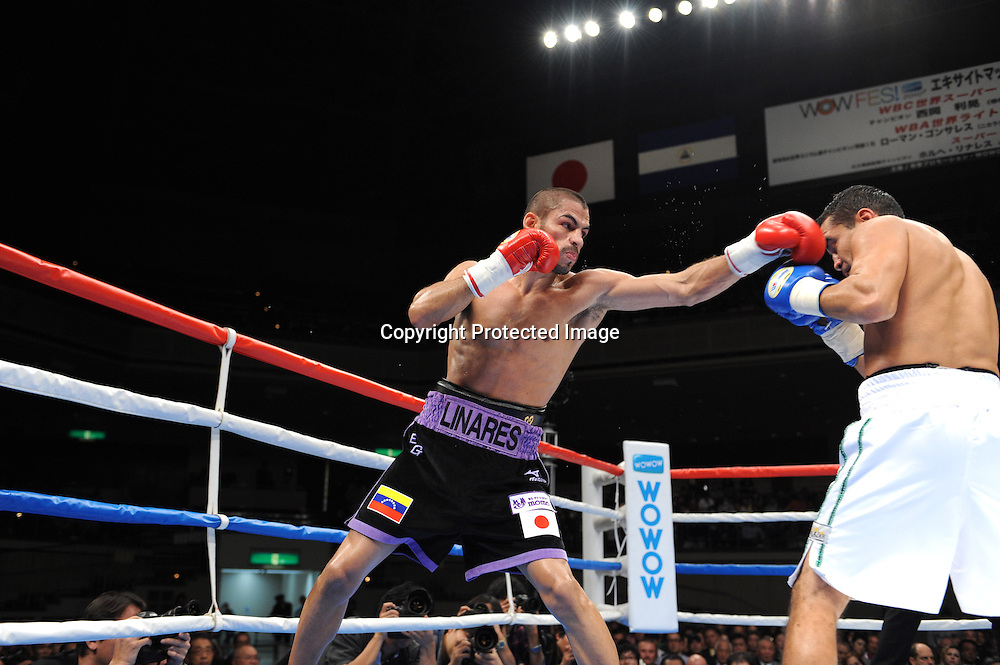 (L-R) Jorge Linares (VEN), Jesus Chavez (MEX),<br /> OCTOBER 24, 2010 - Boxing :<br /> Jorge Linares of of Venezuela in action against Jesus Chavez of Mexico during the 10R lightweight bout at Ryogoku Kokugikan in Tokyo, Japan. (Photo by Mikio Nakai/AFLO)