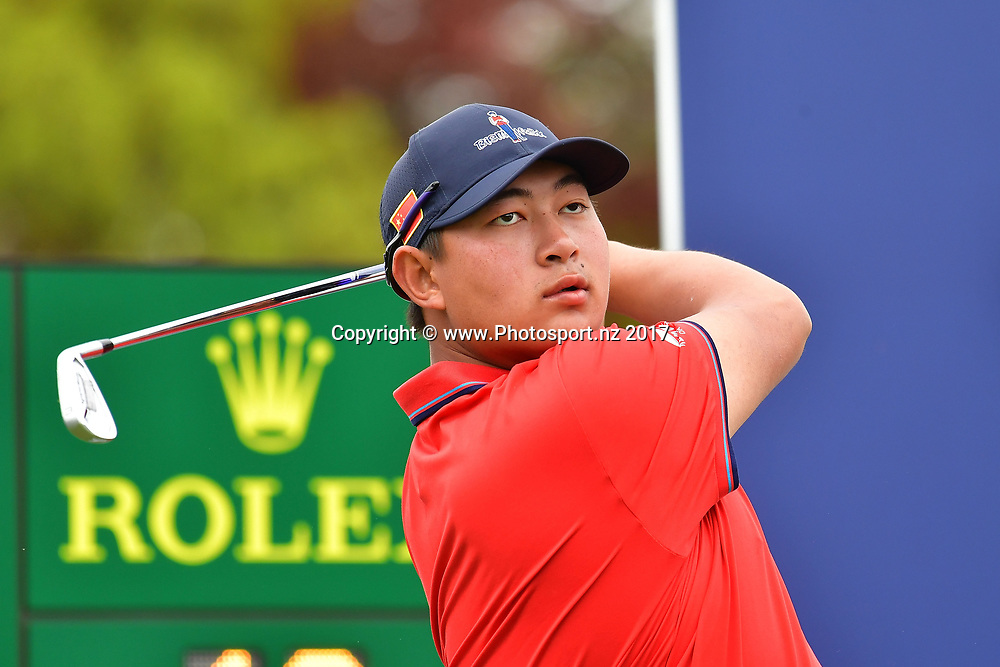 China's Yechun Yuan tees off on the 1st during the final day of the Asia-Pacific Amateur golf Championship at the Royal Wellington Golf course in Upper Hutt on Sunday the 29 October 2017. Copyright Photo by Marty Melville / www.Photosport.nz