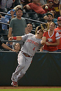 PHOENIX, AZ - JULY 08:  Scooter Gennett #4 of the Cincinnati Reds catches a foul ball for the final out of the MLB game against the Arizona Diamondbacks at Chase Field on July 8, 2017 in Phoenix, Arizona. The Cincinnati Reds won 7-0.  (Photo by Jennifer Stewart/Getty Images)