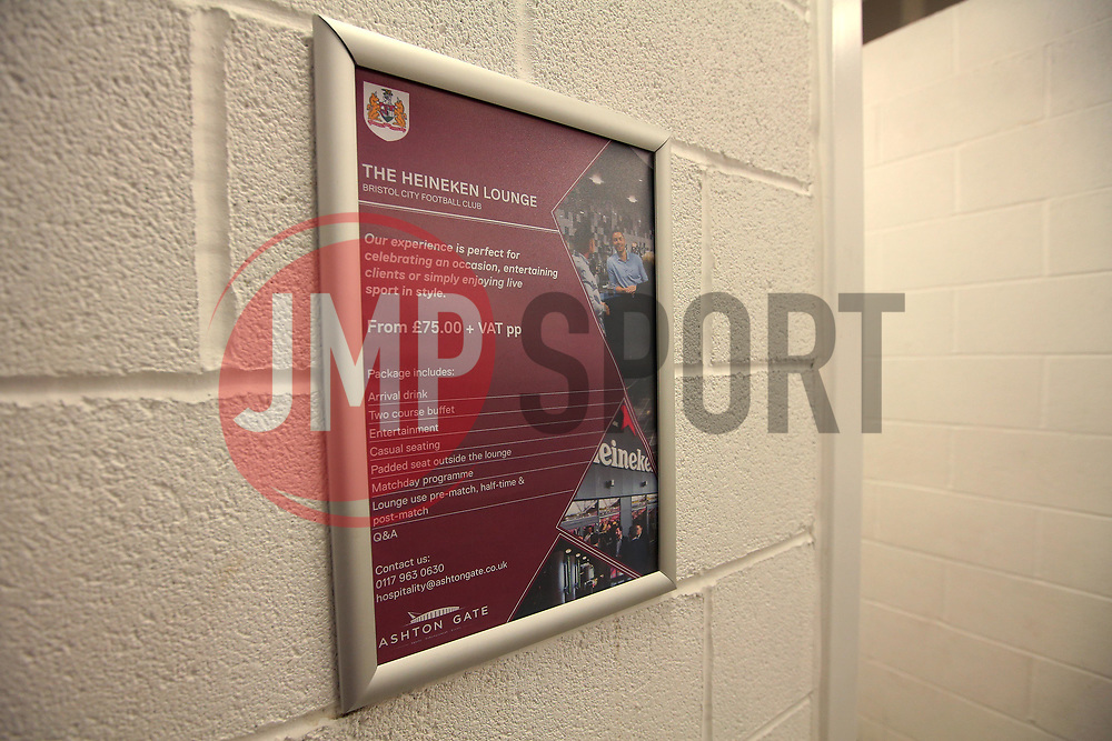 Bristol Sport poster in toilets - Mandatory by-line: Robbie Stephenson/JMP - 20/12/2017 - FOOTBALL - Ashton Gate Stadium - Bristol, England - Bristol City v Manchester United - Carabao Cup Quarter Final